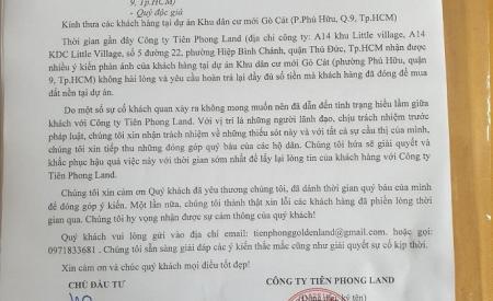 tien-phong-land-gui-cong-van-khac-phuc-sai-pham-tai-du-an-khu-dan-cu-moi-go-cat-1128.html